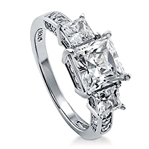 BERRICLE Rhodium Plated Sterling Silver Cubic Zirconia CZ 3-Stone Engagement Ring Size 4