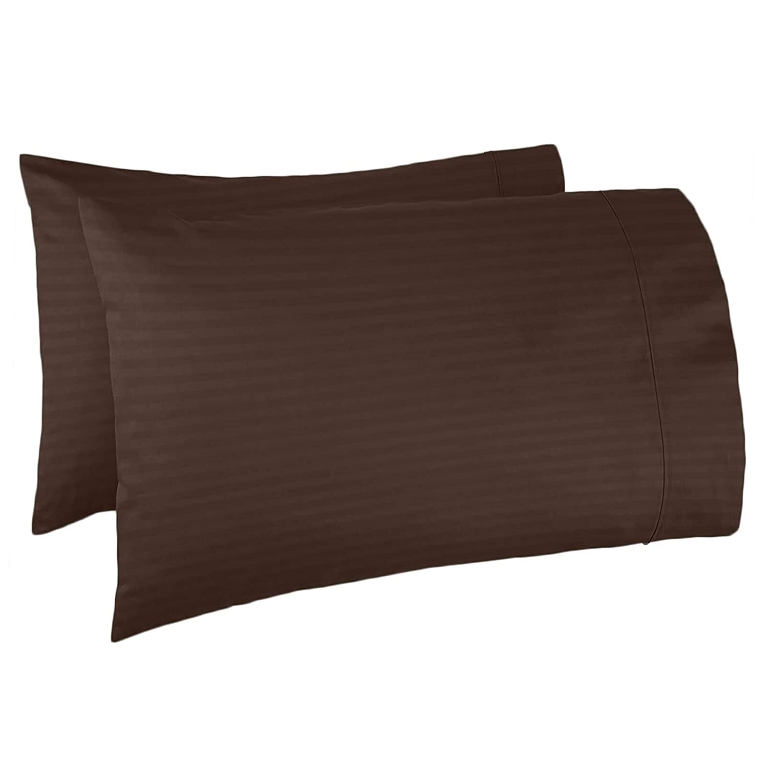 Nestl Bedding Soft Pillow Case Set of 2 – Double Brushed Microfiber Hypoallergenic Pillow Covers – 1800 Series Damask Dobby Stripe Pillow Cases, King - Brown