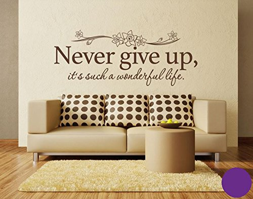 Pared de Pared Tatuajes 4765 Never Give Up, morado, 60cm x 23cm ...