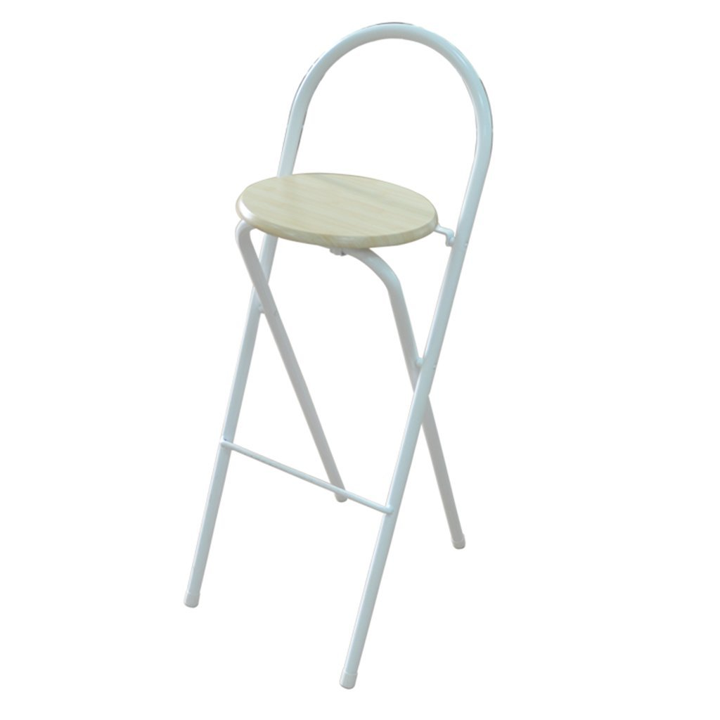 D-Z Chair Home Folding Stool Bar Stool Dinette Portable High Stool Bar Chair 36x45.5x97cm (Color : White)