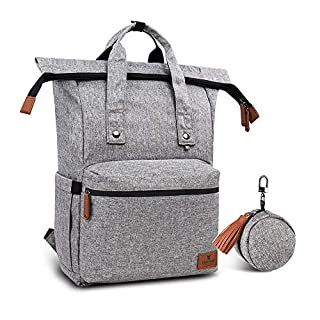 Hafmall Diaper Bag, Multifunction Adjustable Capacity Large Baby Travel Backpack for Mom and Dad (Gray)