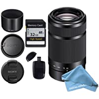 Sony E-Mount 55-210mm F 4.5-6.3 Lens for Sony E-Mount + 32GB SD Memory Card and USB SD Card Reader