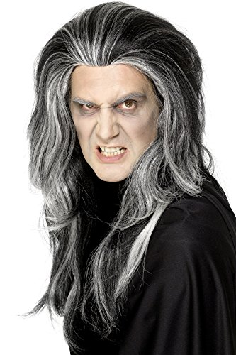 Black Vampire Wig - Smiffy's Gothic Vampire Wig Costume, Black/White, One Size