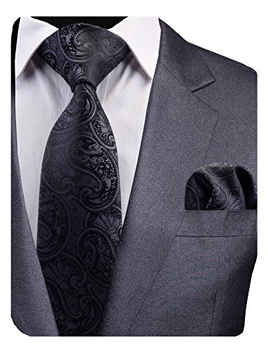 GUSLESON New Black Paisley Tie for Men Silk Wedding Necktie and Pocket Square Set - Paisley Black New