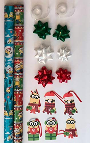 Despicable ME Minions Gift Wrap Set - 2 Rolls of Christmas Wrapping Paper - 40 Square Feet, 6 Gift Tags, 6 Bows and 2 Rolls of Tape