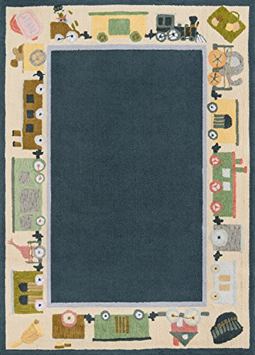 Momeni Rugs LMOINLMI-3BLU5070 Lil' Mo Classic Collection, Kids Themed 100% Cotton Hand Hooked Area Rug, 5' x 7', Blue ()