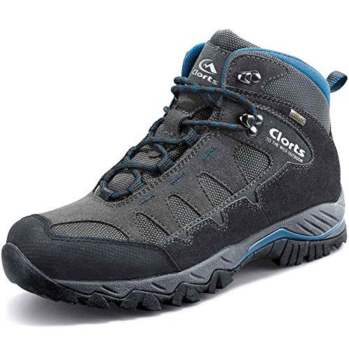 (Clorts Men's Pioneer Hiking Boots Waterproof Suede Leather Lightweight Hiking Shoes Dark Grey/Blue US Men Size 10 Medium Width )
