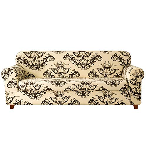 TIKAMI 2-Piece Sofa Slipcovers Printed Floral Stretch Couch Covers Washable Anti-Slip Furniture Protector for Living Room(Sofa, Coffee) 3 Piece Brown Floral Cushions