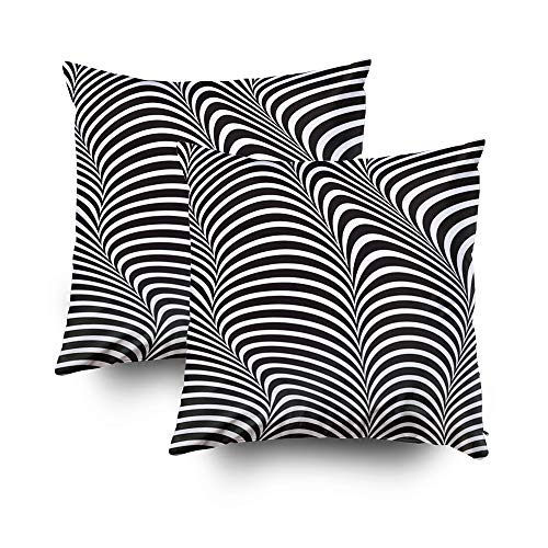 Body Pillow Case,EMMTEEY 18x18 2 PCS Pillow Covers Home Throw Pillow Covers for Sofa abstract pattern vector zebra texture wallpaper 3d illustration geometric trendy futuristi Square Double Sided Prin