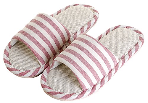 House Stripe Womens Open and Toe Slippers Flax Shoes Mens Red Soft I7x8qZfnw