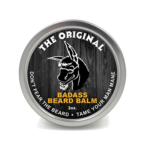 Badass Beard Care Beard Balm For Men - The Original Scent, 2 oz - All Natural Ingredients, Soften Hair, Hydrate Skin to Get Rid of Itch and Dandruff, Promote Healthy Growth
