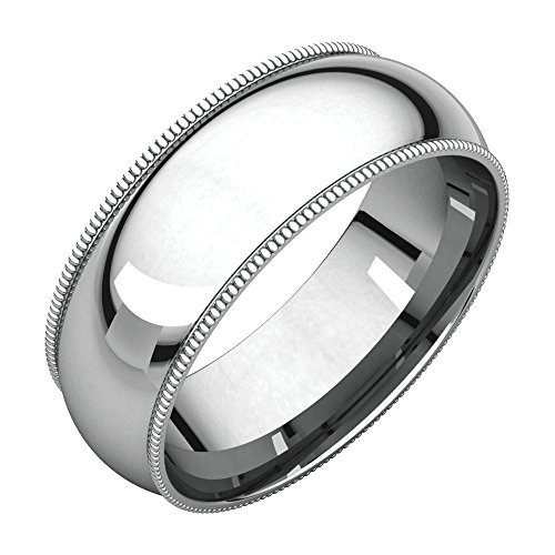 Bonyak Jewelry Palladium 7 mm Milgrain Comfort-Fit Band in Palladium - Size 10