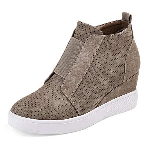 DEARWEN Women's Heel Platform Casual Sneakers Zipper Wedge High Top Sports Shoes Brown