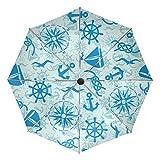 GIOVANIOR Marine Anchor Seagull Windproof Foldable Rain Travel Canopy Umbrella Auto Open Close Button