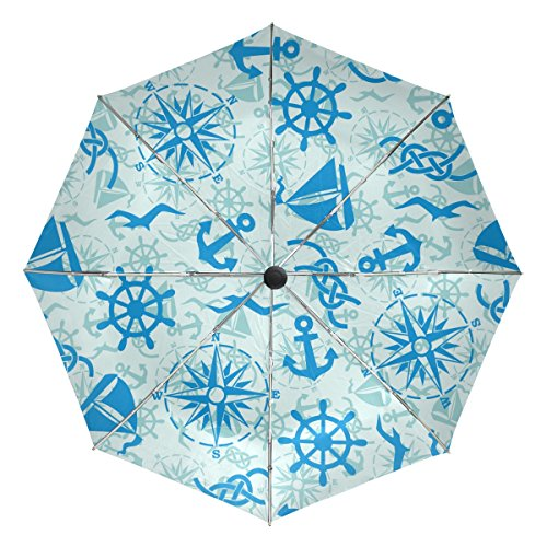 GIOVANIOR Marine Anchor Seagull Windproof Foldable Rain Travel Canopy Umbrella Auto Open Close Button by GIOVANIOR