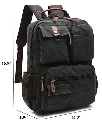 Canvas Backpack, Aidonger Vintage Canvas School Backpack Hiking Travel Rucksack Fits 14'' Laptop (Black-48) by Aidonger (Image #3)