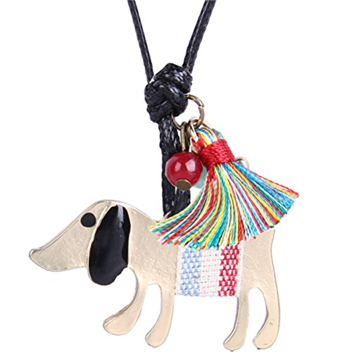 (Bohemian Style Dog Animal Pendant Leather Necklace Best Friend Women Girls Clothing Accessories)