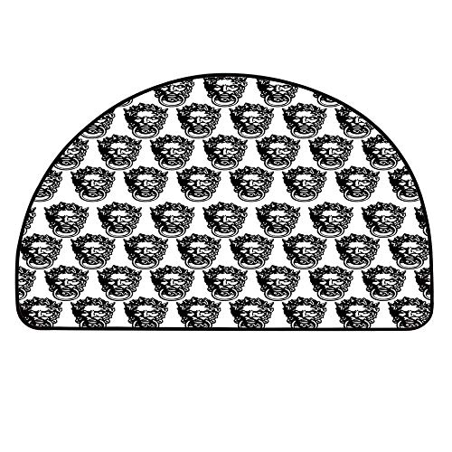 - YOLIYANA Black and White Semicircle Rug,Monochrome Medieval Knocker Old Antique Figure Head Cartouche Gothic Theme Floor Mat,13.7