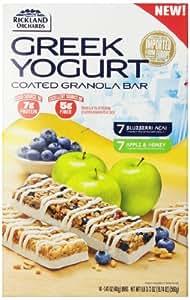 Rickland All Natural Greek Yogart Bar, 7 Apple & Honey and 7 Blue Berry Acai, 19.74 oz
