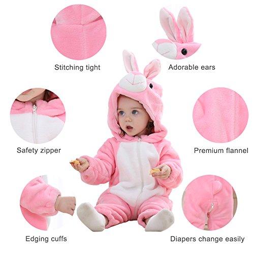 Michley Bambini Pagliaccetti Unisex neonata con Cappuccioanimali di Flanella per 0-3Anni 3