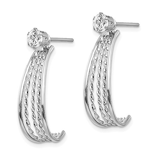 14k Gold Polished and Rope Textured J-Hoop Jackets with CZ Stud Earrings 0.79 Height