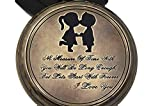 Cousins Kissing Boy And Girl Retro Style Pocket watch with Wood Case