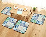 Leighhome Simple Modern Chair Cushions Wild Flowers Themed Collage with Daisy and Violets in The Meadow Countryside Picture Reusable Water wash W27.5 x L27.5/4PCS Set