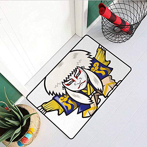 Gloria Johnson Kabuki Mask Welcome Door mat Character with Kimono Costume Orient Elements Edo Era Arts Theater Play Print Door mat is odorless and Durable W15.7 x L23.6 Inch Multicolor]()