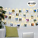 Amteker LED Photo Clip String Lights - 40 Photo Clips Battery Powered 5M Picture Lights for Decoration Hanging Photo, Notes, Artwork