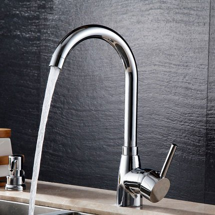 Bathroom Bathtub Faucet Solid Brass Chrome Basin Tap Home Decor Hot Cold Mixer Single Handle Brushed Steel Kitchen Chrome Bar Sink Sprayer Smooth and Refined Turning Fruit Washing Vegetable Clean