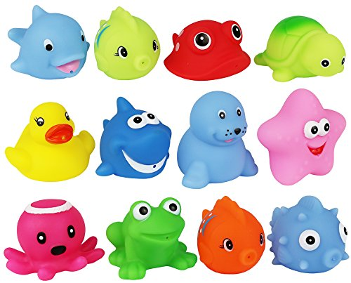 Click N' Play Assorted Colorful Bath Squirters with Suction Cup Mesh Bag Organizer 12 Pack ()