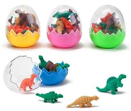 9Snail Mini Dinosaur Eggs - 12 eggs - 96 Dinosaur Erasers Toys Party Bag Fillers Favors Jurassic T-Rex Sets Lot - Dinosaur Toy Learning And (Jurassic World Rubber Bracelets)