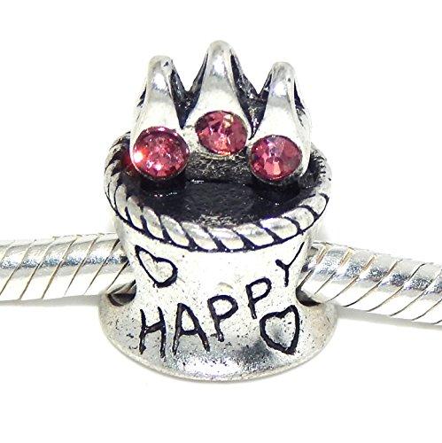"""Pro Jewelry """"Happy Birthday Cake w/ Pink Stones"""" Charm Bead for Snake Chain Charm Bracelets"""