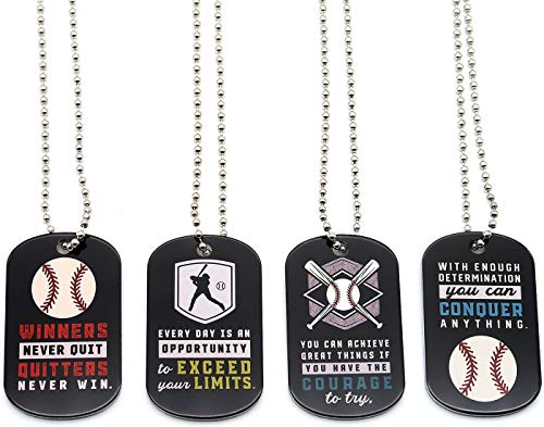 (12-Pack) Baseball Motivational Dog Tag Necklaces - Wholesale Bulk Pack of 1 Dozen Necklaces - Party Favors Sports Gifts Uniform Supplies for Baseball Players Coaches Fans Team Members