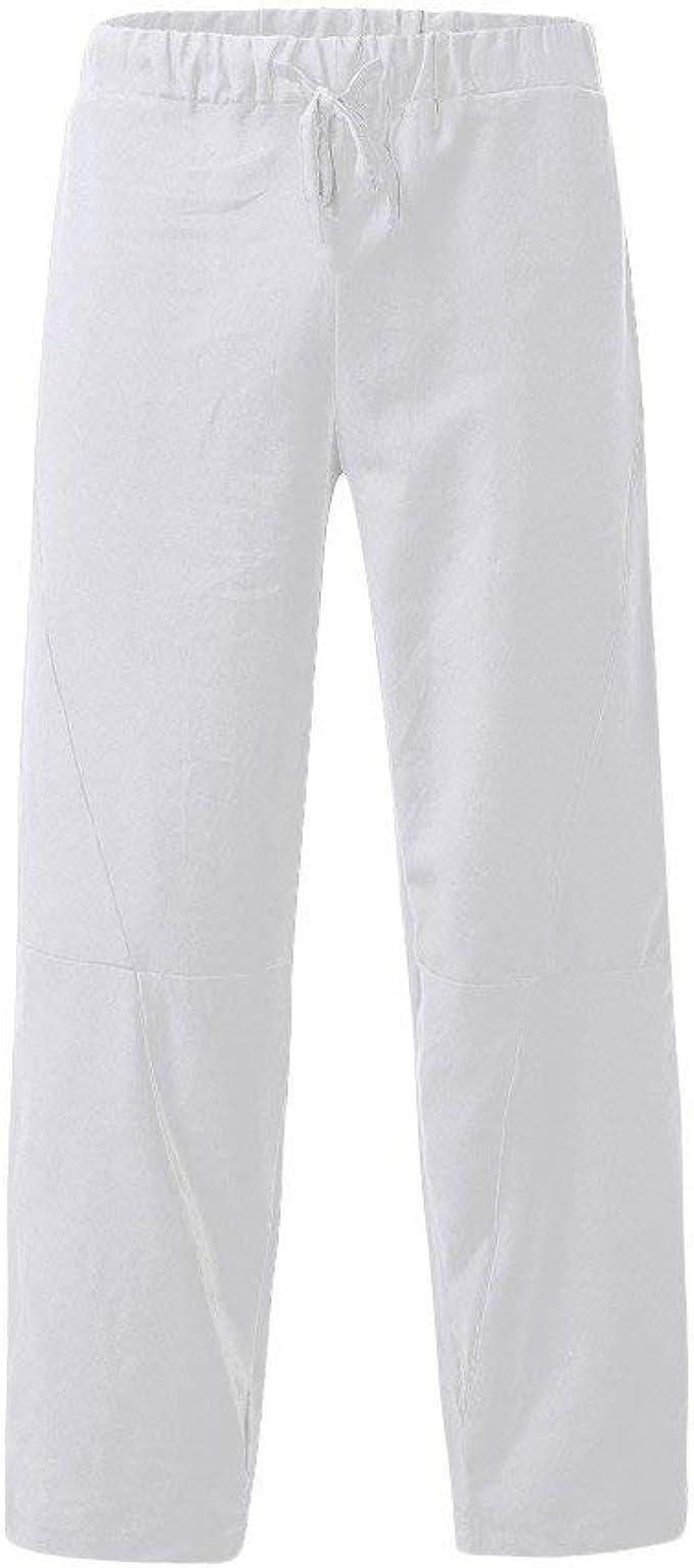Pantalones Hombre Pantalón Casual Lino Pantalones de Playa Jogging ...