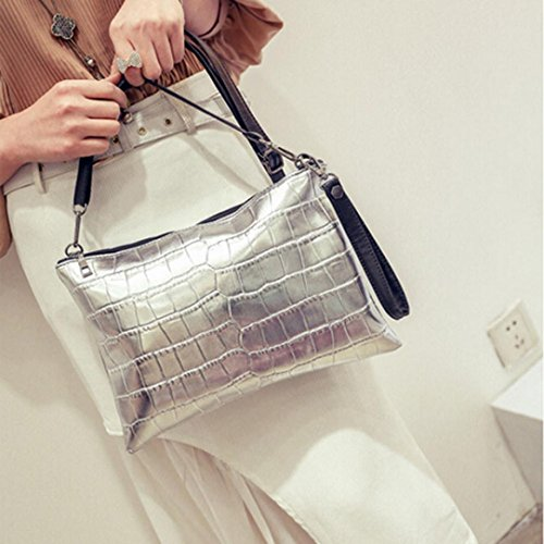 Shoulder Silver Bag Leather Women Bag Handbag Cross Messenger Body Zipper ® Shoulder Ouneed OwF7qFE