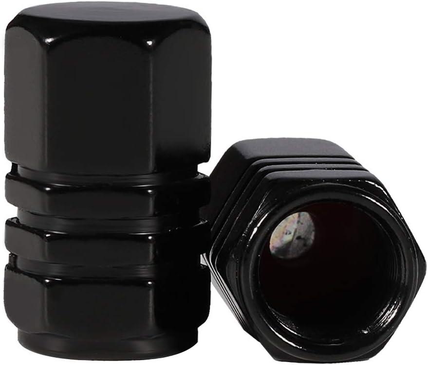 upain Tyre Valve Caps Black Universal Stem Tire Covers for Cars SUVs Bike Bicycle Trucks Motorcycles Hexagon Design
