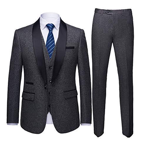 WEEN CHARM Men's Shawl Lapel 3-Pieces Suit Slim Fit One Button Dress Suit Blazer Jacket Pants Tux Vest Grey