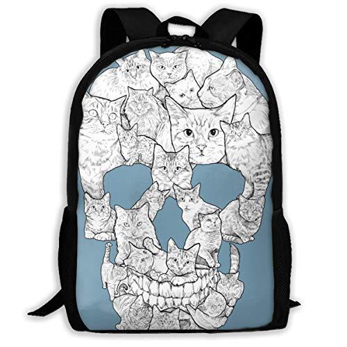 Sketchy Cat Skull Multi-function Backpack College Bookbag
