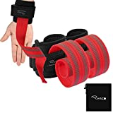 Ryaco Lifting Straps Neoprene Padded Wrist Wraps for Weightlifting, Bodybuilding, Xfit, Crossfit, Powerlifting, MMA, Strength Training Equipment for Men & Women (1 Pair) (Red) (Red)