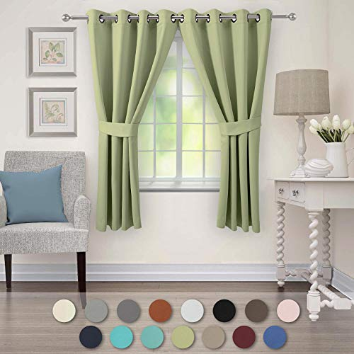 (VEEYOO Bedroom Blackout Curtains 2 Panels - Thermal Insulated Room Darkening Curtain with Tiebacks Thick Grommet Window Drapes for Living Room (Sage, 52x63)