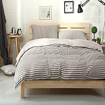 Charming PURE ERA Egyptian Quality Jersey Cotton Bedding Sets Striped Duvet Cover  And Pillow Shams Brown Grey,Queen