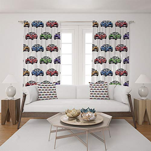2 Panel Set Satin Window Drapes Living Room Curtains and 2 Pillowcases,Cars with Different Angles Hand Drawn Fast Vehicles,The perfect combination of curtains and pillows makes your living room warmer