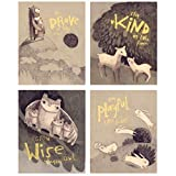 Wall Art Décor for Baby Nursery or Child's Bedroom. Woodland Animal Prints with Inspirational Quotes for Above Crib. Perfect Baby Shower Gift Unisex for Girl or Boy. Set of Four 8x10 Unframed