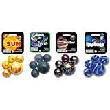MegaFun USA Solar System Marble Set 4-Pack Bundle with Sun, Earth, Jupiter and Neptune - 100 Colorful Marbles - Each Net Includes 1 Shooter and 24 Players
