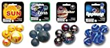 MegaFun USA Solar System Marble Set 4-Pack Bundle with Sun, Earth, Jupiter and Neptune
