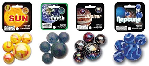 MegaFun USA Solar System Marble Set 4-Pack Bundle with Sun, Earth, Jupiter and -