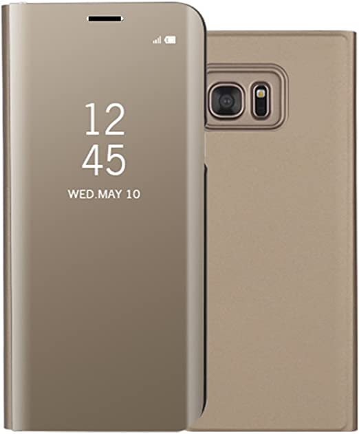 Amazon Com Galaxy S6 Edge Plus Case Shinetop Luxury Smart Clear View Stand Flip Folio Cover Electroplate Plating Pc Mirror Case Ultra Slim Thin 360 Full Body Protective Case For Samsung Galaxy S6 Edge