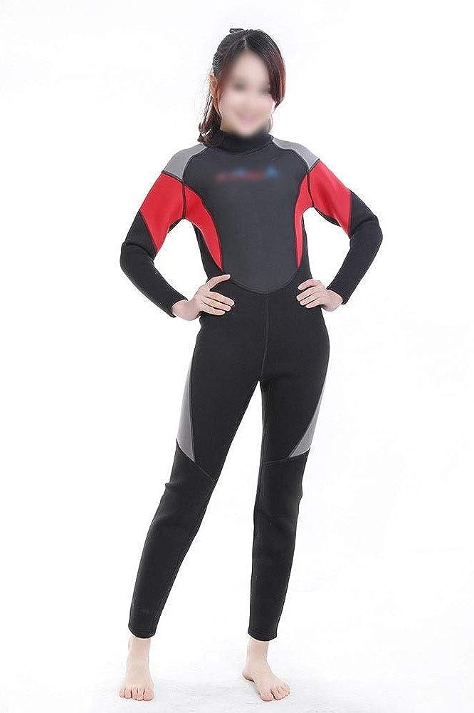 YUNRIYA 3ミリメートル大人のダイビングスーツ弾性暖かいウェットスーツシュノーケリングスーツサーフ服冬の水泳日焼け防止服 レッド M