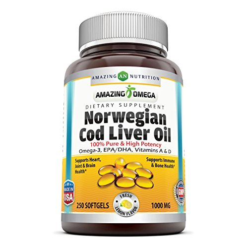 Norwegian Cod Liver Oil - Amazing Omega Norwegian Cod Liver Oil 1000 Mg, Softgels (Lemon, 250 Softgels)